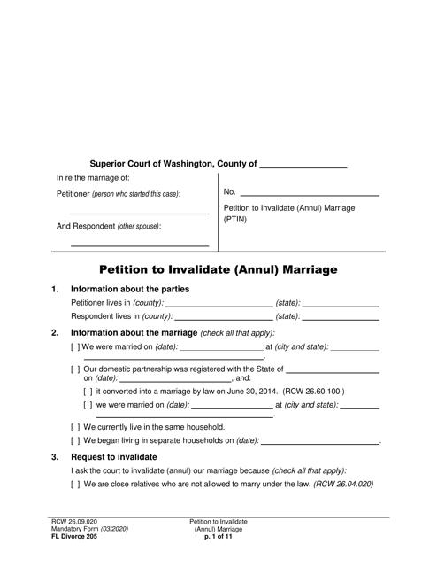 Form FL Divorce205 Printable Pdf