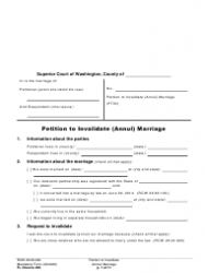"""Form FL Divorce205 """"Petition to Invalidate (Annul) Marriage"""" - Washington"""