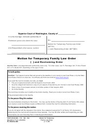 "Form FL Divorce223 ""Motion for Temporary Family Law Order and Restraining Order"" - Washington"