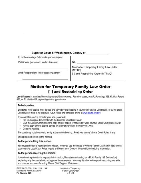 Form FL Divorce223  Printable Pdf