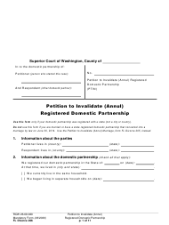 "Form FL Divorce206 ""Petition to Invalidate (Annul) Registered Domestic Partnership"" - Washington"