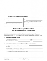 "Form FL Divorce204 ""Petition for Legal Separation (Registered Domestic Partnership)"" - Washington"