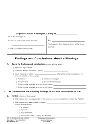 "Form FL Divorce231 ""Findings and Conclusions About a Marriage"" - Washington"
