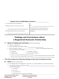 "Form FL Divorce232 ""Findings and Conclusions About a Registered Domestic Partnership"" - Washington"