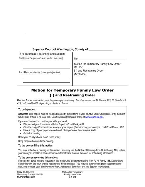 Form FL Parentage323 Printable Pdf