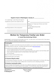 """Form FL Parentage323 """"Motion for Temporary Family Law Order and Restraining Order"""" - Washington"""