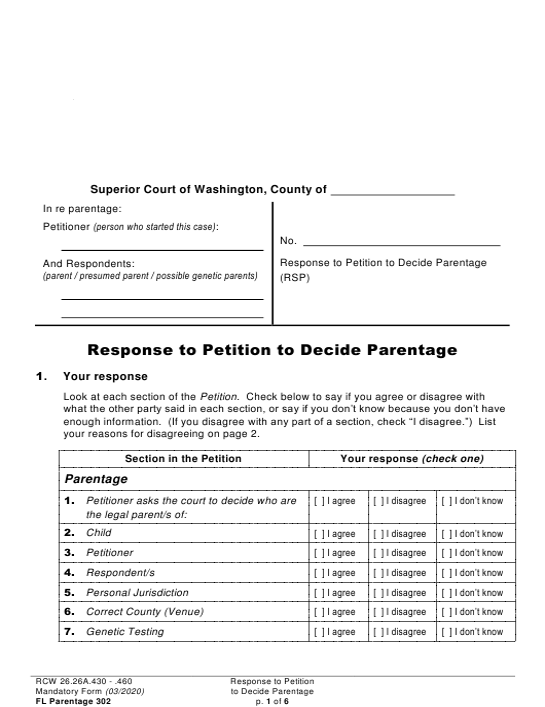 Form FL Parentage302  Printable Pdf