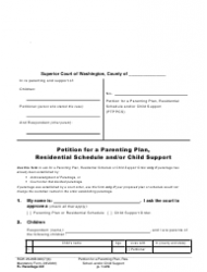 """Form FL Parentage331 """"Petition for a Parenting Plan, Residential Schedule and/or Child Support"""" - Washington"""