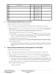 """Form FL Parentage331 """"Petition for a Parenting Plan, Residential Schedule and/or Child Support"""" - Washington, Page 2"""