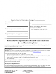 """Form FL Non-Parent423 """"Motion for Temporary Non-parent Custody Order and Restraining Order"""" - Washington"""