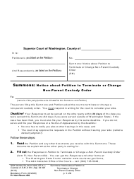 "Form FL Non-Parent450 ""Summons: Notice About Petition to Terminate or Change Non-parent Custody Order"" - Washington"