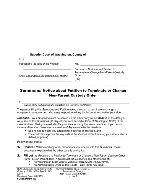 Form FL Non-Parent450  Printable Pdf