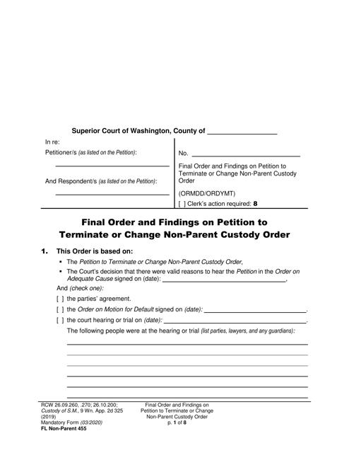 Form FL Non-Parent455  Printable Pdf