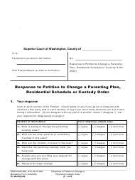 "Form FL Modify602 ""Response to Petition to Change a Parenting Plan, Residential Schedule or Custody Order"" - Washington"