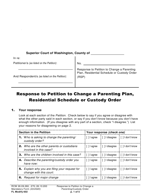 Form FL Modify602 Printable Pdf