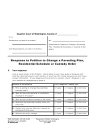 """Form FL Modify602 """"Response to Petition to Change a Parenting Plan, Residential Schedule or Custody Order"""" - Washington"""