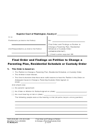 "Form FL Modify610 ""Final Order and Findings on Petition to Change a Parenting Plan, Residential Schedule or Custody Order"" - Washington"