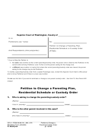 "Form FL Modify601 ""Petition to Change a Parenting Plan, Residential Schedule or Custody Order"" - Washington"