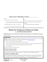"Form FL Modify623 ""Motion for Temporary Family Law Order and Restraining Order"" - Washington"