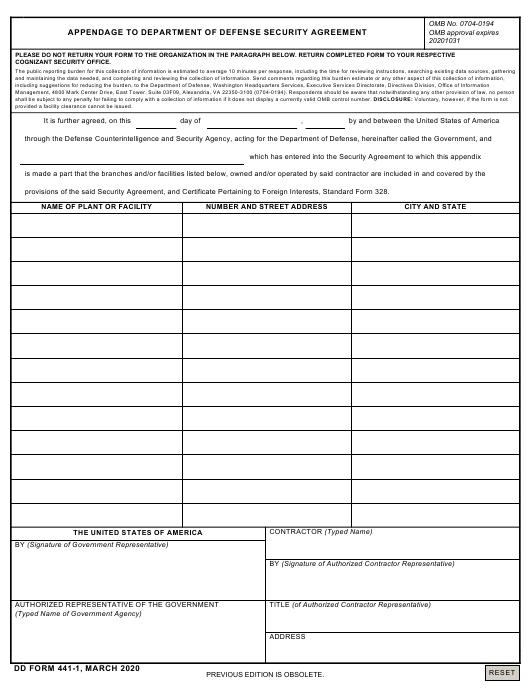 DD Form 441-1 Printable Pdf