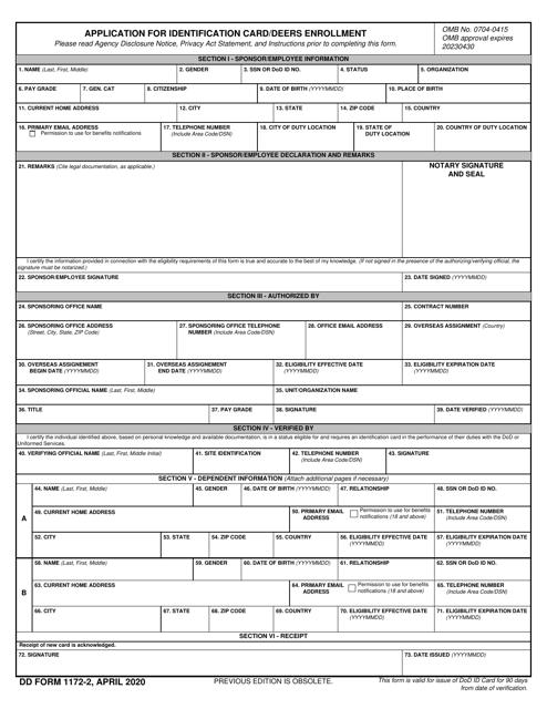 DD Form 1172-2  Printable Pdf