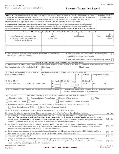 ATF Form 4473 (5300.9)  Printable Pdf