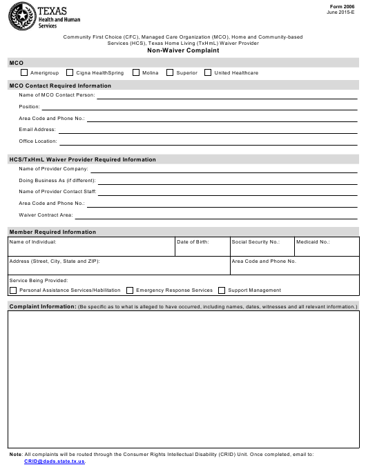 Form 2006 Download Fillable PDF or Fill Online Community First Choice  (Cfc), Managed Care Organization (Mco), Home and Community-Based Services  (Hcs), Texas Home Living (Txhml) Waiver Provider Non-waiver Complaint Texas  | Templateroller