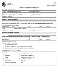 "Form 3216 ""Psychiatric Hospital License Application"" - Texas"