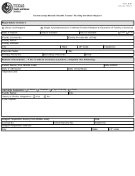 "Form 6102 ""Community Mental Health Center Facility Incident Report"" - Texas"