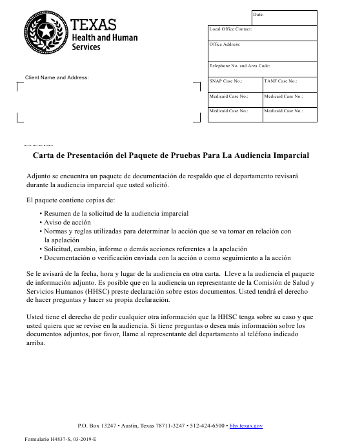 Formulario H4837-S  Printable Pdf