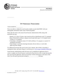 "Form HRG-83 ""Ssn Maintenance Memorandum"" - Texas"