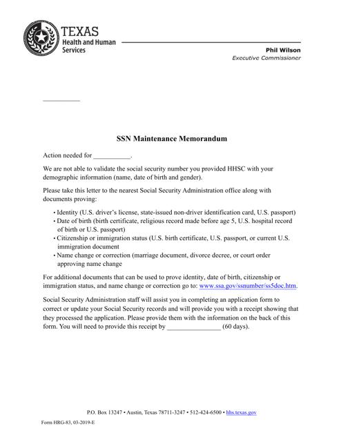 Form HRG-83  Printable Pdf
