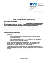"Form DSS-7P ""Cityfheps Program Participant Agreement"" - New York City (Polish)"