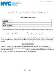 "Form DHS-10A ""Special One Time Assistance ('""sota'"") Landlord Agreement"" - New York City"
