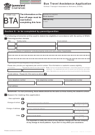 "Form F2208 ""Bus Travel Assistance Application"" - Queensland, Australia"