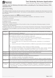 "Form F2330 ""Taxi Subsidy Scheme Application"" - Queensland, Australia"