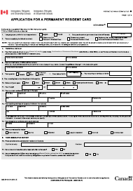 """Form IMM5444 """"Application for a Permanent Resident Card"""" - Canada"""