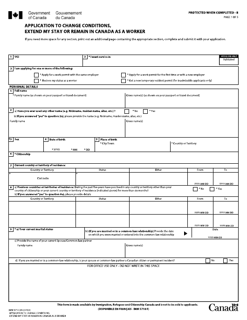 Form IMM5710  Printable Pdf