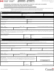 "Form PPTC463C ""Additional Information for Children in Foster Care and Children Undergoing an Adoption Process in Canada"" - Canada"