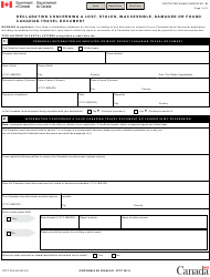 "Form PPTC203 ""Declaration Concerning a Lost, Stolen, Inaccessible, Damaged or Found Canadian Travel Document"" - Canada"