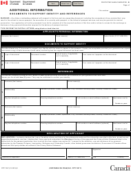 "Form PPTC057 ""Additional Information - Documents to Support Identity and References"" - Canada"