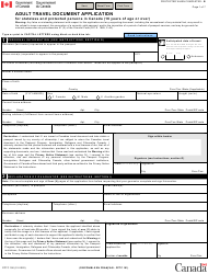 "Form PPTC190 ""Adult Travel Document Application for Stateless and Protected Persons in Canada (16 Years of Age or Over)"" - Canada"