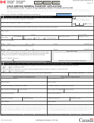 "Form PPTC042 ""Child Abroad General Passport Application for Canadians Under 16 Years of Age Applying Outside of Canada and the Usa"" - Canada"