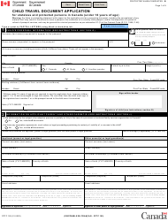 "Form PPTC192 ""Child Travel Document Application for Stateless and Protected Persons in Canada (Under 16 Years of Age)"" - Canada"