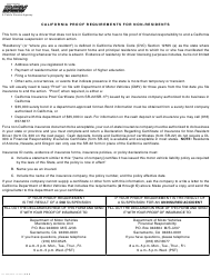 "Form DL300 ""Declaration Regarding Certificate of Insurance for Non-resident Driver"" - California"