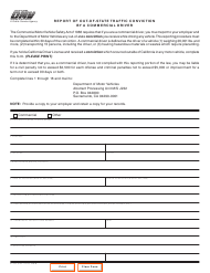 "Form DL535 ""Report of out-Of-State Traffic Conviction by a Commercial Driver"" - California"