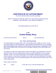 "NAVPERS Form 1430/7 ""Certificate of Appointment (E4-e6) Usn"""