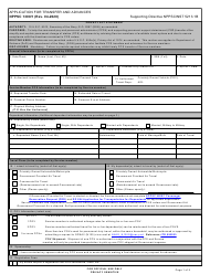 "Form NPPSC1300/1 ""Application for Transfer and Advances"""