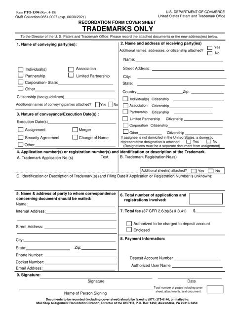 Form PTO-1594  Printable Pdf