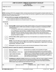 "AE Form 55-46B ""Army in Europe Command-Sponsorship Checklist"""